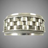 Victorian Silver Bangle with Basketweave Design