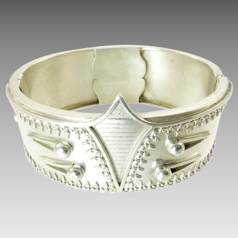 Corset and Button Design Victorian Silver Cuff Bracelet