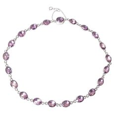 Antique Paste Riviere Necklace with Lavender Stones set in Silver