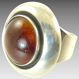 Amber and Sterling Silver Ring by Neils Erik From