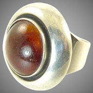 Amber and Sterling Silver Ring by Niels Erik From