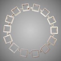 Han Hansen Modernist Sterling Square Link Necklace
