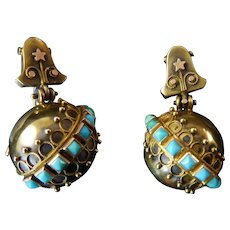 Victorian Gold Earrings with Turquoise Pyramids