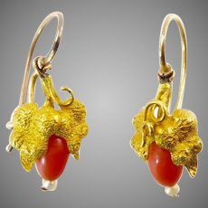 Victorian Coral and 14 Karat Gold Earrings