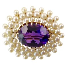 Antique  14 Karat Gold Amethyst Brooch with Three Rows of Pearls