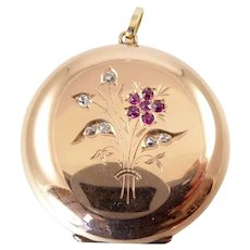 Antique Rose Gold Watch Case Locket with Diamonds and Rubies