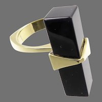 Sculptural 14 Karat Gold and Onyx Modernist Ring