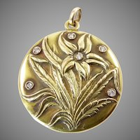 Art Nouveau Gold and Diamond Locket