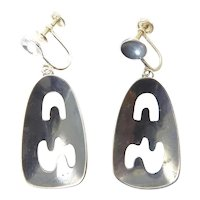 Esther Lewittes Modernist Sterling Silver Earrings