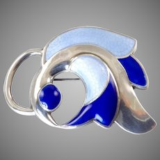 J. Tostrup Abstract Bird Brooch in Blue Enamel