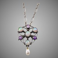 Arts and Crafts Pendant with Opal and Amethyst