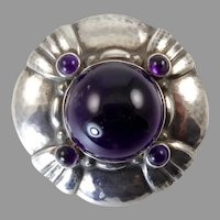 Georg Jensen Arts and Crafts Brooch 50 with Amethyst
