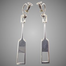 "Tone Vigeland Modernist Sterling ""Medium"" Earrings"