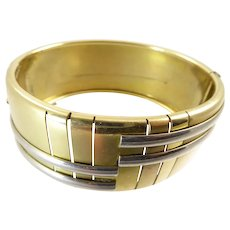 Art Deco Gold and Silver Tone Geometric Bangle