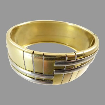 Art Deco Gold and Silver Tone Geometric Bangle