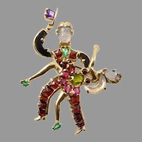 Gemstone and 14 Karat Gold Dancer Brooch
