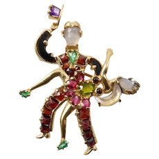 Gemstone and 14 Karat Gold Dancer Brooch