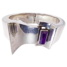 Antonio Pineda Modernist Silver Bracelet with Amethyst
