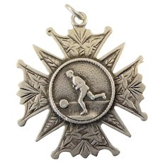 Victorian Sterling Silver Football ( Soccer ) Charm or Pendant