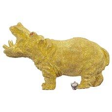 18 Karat Gold Hippopotamus Brooch by George Lederman