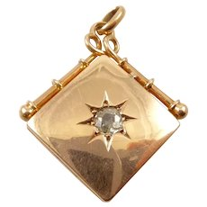 Victorian Gold Locket With Old Cut Diamond