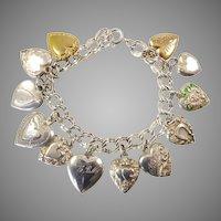 Sterling Silver Puffy Heart Charm Bracelet