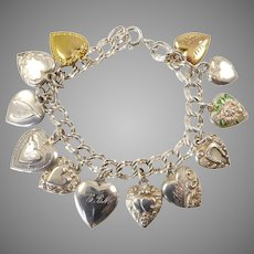 Sterling Silver Puffy Heart Charm Bracelet