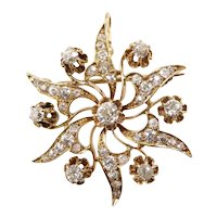Antique Diamond and Gold Star Brooch Pendant