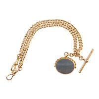 Antique 9 Carat Rose gold Watch Chain with Bloodstone Fob