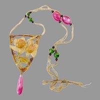 Elizabeth Bonte Art Nouveau Roses Horn Necklace