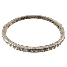 Sterling and Paste Deco Hinged Bangle