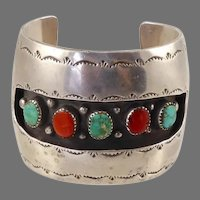 Native American Shadowbox Cuff with Turquoise and Coral
