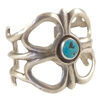 Native American Sandcast Cuff with Turquoise