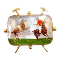 Large Shreve and Company Essex Crystal of Polo Players