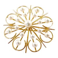 14 Karat Gold and Cultured Pearl Flower Brooch