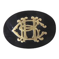Gold and Onyx Mourning Brooch with Initials and Hair Compartment