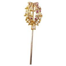 Antique Diamond and Ruby Wreath Stick Pin in Original Box