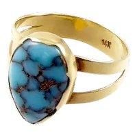 Turquoise and 14 Karat Gold Ring