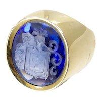 Sapphire Intaglio Signet Ring in 14 Karat gold