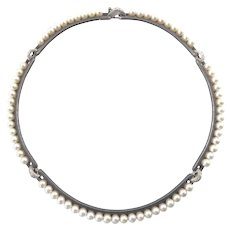 Marsh and Co. Diamond, Pearl, and Blackened Steel Necklace