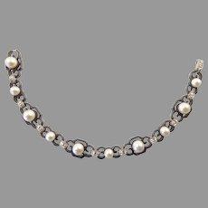 Marsh and Co. Diamond, Pearl, and Blackened Steel Bracelet