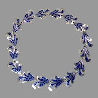 Margot de Taxco Blue Enamel Necklace