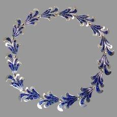 Margot de Taxco Blue Enamel Necklace