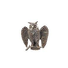 Victorian Silver Owl Brooch