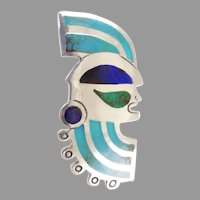 Graziella Laffi Sterling and Enamel Warrior Head Brooch