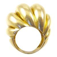 Huge 14 Karat Gold Torsade Dome Ring