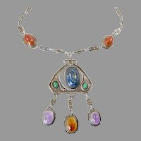 Large Sterling Egyptian Revival Necklace with Gemstone Scarabs