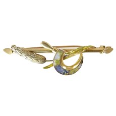 Victorian Gold in Quartz Brooch of Wheat and Scythe