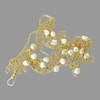 Antique 14 Karat Gold Long Chain with Baroque Pearls
