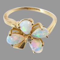 Vintage Opal and Diamond Flower Ring in 14 Karat Gold